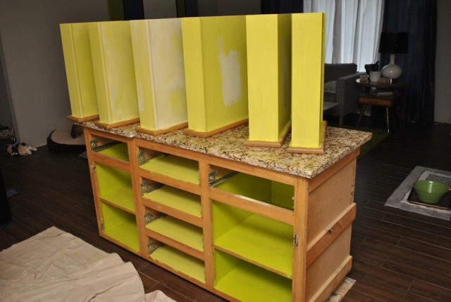 Primed drawers and cabinets