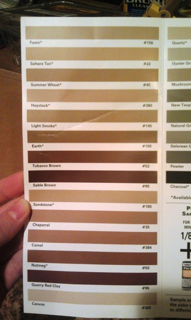 Grout color swatches