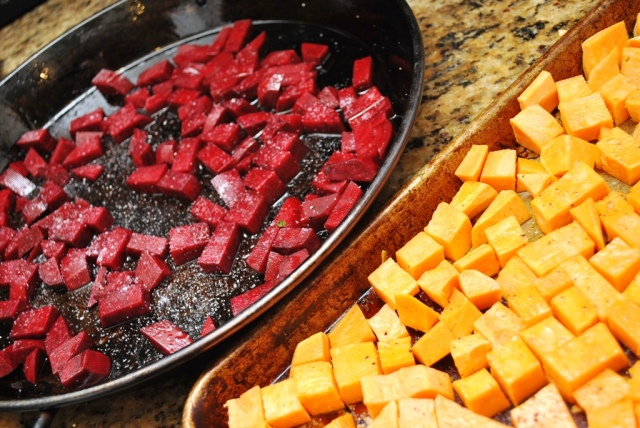 roasting sweet potatoes and beets