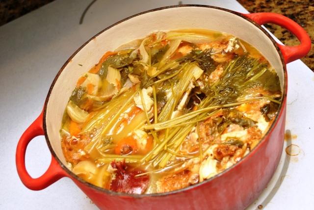 chicken stock simmering