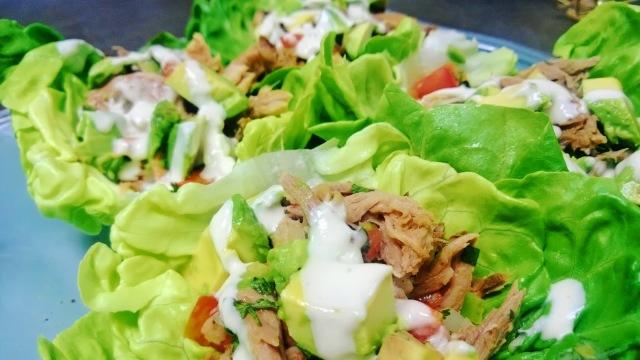 Paleo pulled pork lettuce tacos