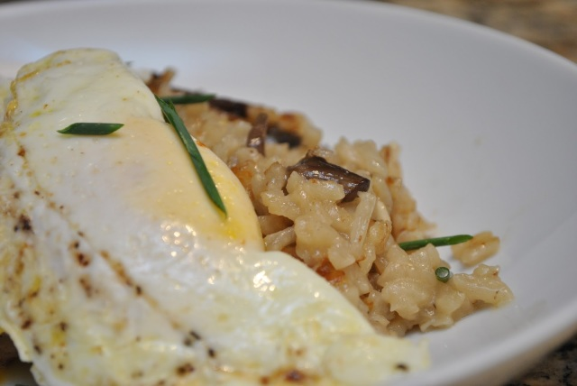 mushroom risotto with a fried egg