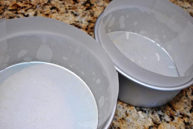 parchment lined cake pans