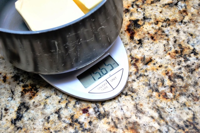 measuring butter with a scale