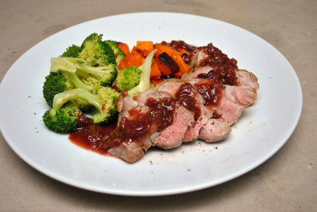 Pan-Seared Pork Tenderloin with Roast Squash, Steamed Broccoli, and Cranberry Glaze
