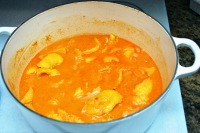 curry squash soup simmering