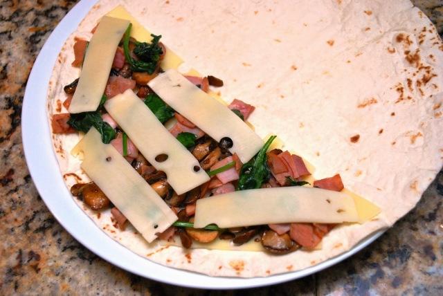 Spinach, mushroom, ham & swiss quesadilla