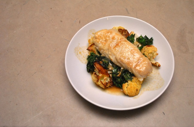 Hake loin on kale and cauliflower