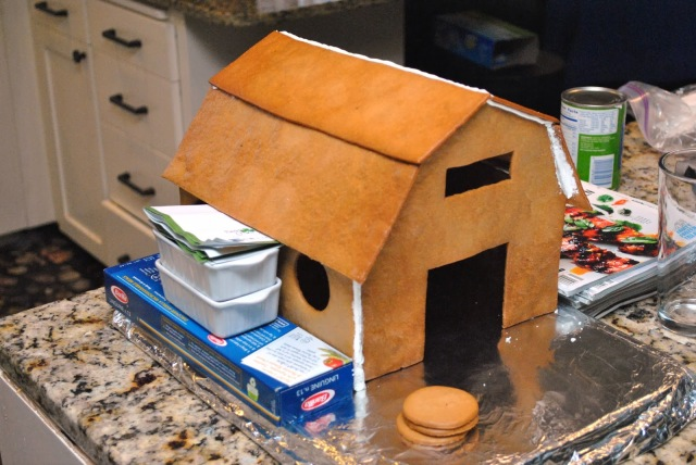 assembling gingerbread barn