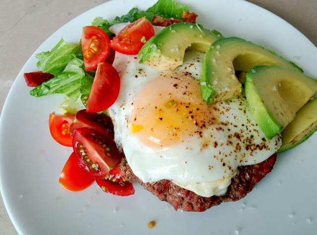 grass fed hamburger salad