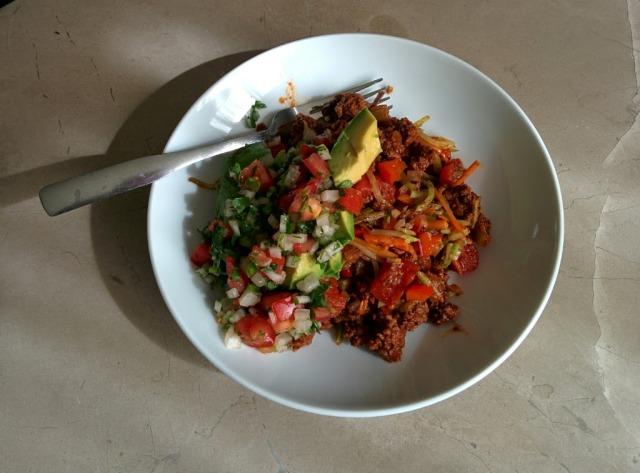 broccoli slaw and beef burrito bowls