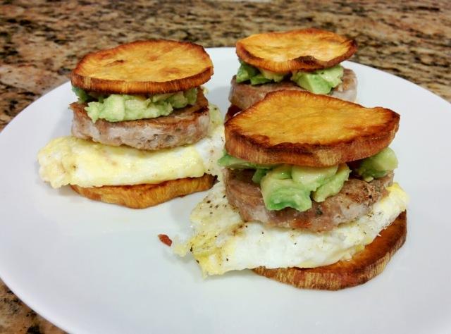 paleo sausage mcmuffin w/ egg and avocado