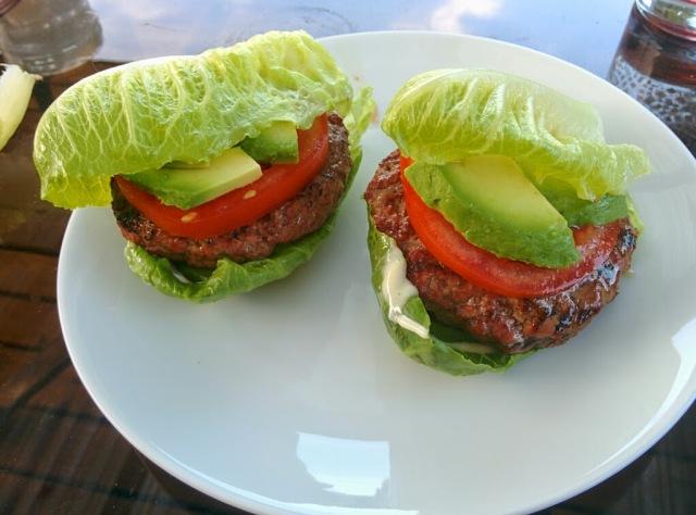 Grass fed hamburger lettuce wraps