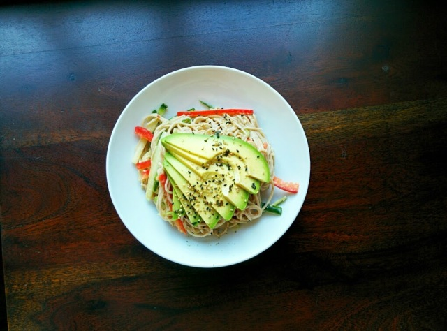 cold peanut sesame soba noodle salad with avocado