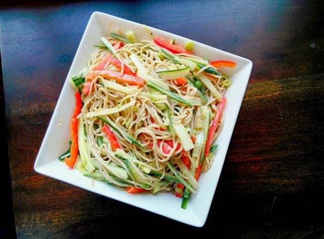 Cold Peanut Sesame Soba Noodle Salad