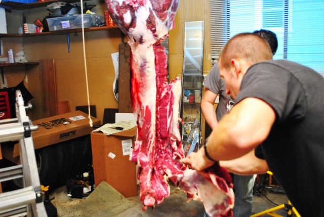 butchering a deer